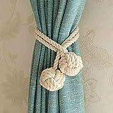 1 paire d'embrasses de rideau Do4u en corde tricotée pour tenir les rideaux avec une boule au bout