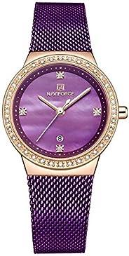 Naviforce Women's Purple Dial Stainless Steel Mesh Analog Watch - NF5005-