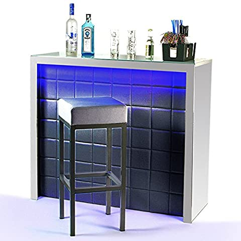 Hollywood Home Bar Counter Black with LED Colour Changing Lighting - Faux Leather Light Up Bar