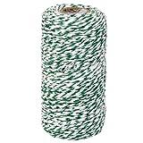 Monbedos 100?m Farbe Baumwolle Bindf?den B?ckergarn DIY Dekoration Kordel für Backen Butchers Crafts Weihnachtsgeschenk Geschenkpapier (grün + wei?)