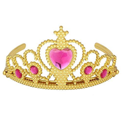 Das beste Tiara für Mädchen Abschlussbälle Festzüge Princess Party Krone (Prinzessin Gold Crown Rot Und)
