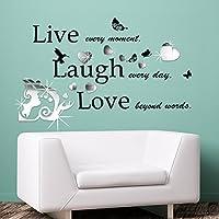 """Kiss """"Art specchio con citazione, motivo scritta"""" Live Laugh Love """"Home Salon camera, matrimoni, feste discoteca Casa caffè ristorante dell"""