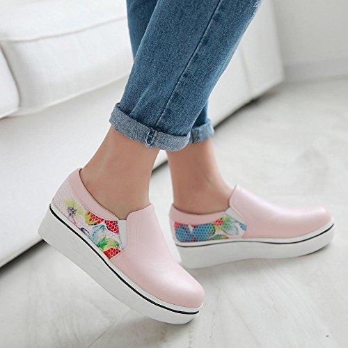 Mee Shoes Damen modern bequem süß Gescchlossen Stoffdruck Durchgängiges Plateau Freizeitschuhe Pink