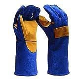 soundwinds Leder-Schweißhandschuhe, feuerfeste Handschuhe, Lange Ärmel, hitzebeständige Grillhandschuhe für Kamin, Ofen, Grill, Schweißen, Topflappen, Gartenarbeit und Grill, langlebig und flexibel
