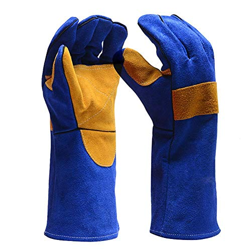 Hitzebeständige Handschuhe Premium Leder Schweißhandschuh Anti-Scratch Cut Resistant Perfekt für Kamin, Herd, Ofen, Grill, Schweißen, Grillen, Mig, Topflappen, Tierhandling Cut Resistant Leder