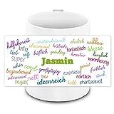 Tasse mit Namen Jasmin und positiven Eigenschaften in Schreibschrift , weiss | Freundschafts-Tasse - Namens-Tasse
