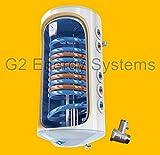 150 L elektrischer wandhängender Warmwasserspeicher mit 2 Wärmetauscher Kombispeicher Boiler Solarspeicher - 2- fach emailliert Antikalk Beschichtung - 2000 Watt