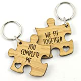 Unique Valentine's Day Gift Idea - You Complete Me We Fit Together Valentines Jigsaw Keyring Set