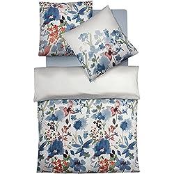 fleuresse Mako-Satin Bettwäsche 135x200 Blumen Blau Koralle Pastell 113914-02