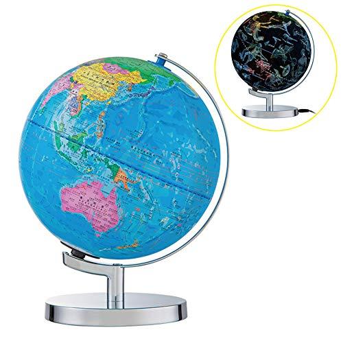 XHJZ-W Beleuchtet Weltkugel, Constellation Globus mit detaillierten Weltkarte für Kinder Educational Interaktive Astronomie & Geographic Karte Globus, 10 Zoll