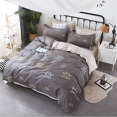 oll Königin König Bettwäsche Set Junge Kind Erwachsene Mädchen Bettwäsche Anzug Plaid Bettbezug Blatt Kissenbezug Deep Grey 220x240cm ()
