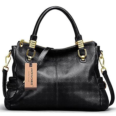Jack&Chris Ladies Handbags and Purses Tote Bag for Women Leather Shoulder Bag, SF0951 (black)