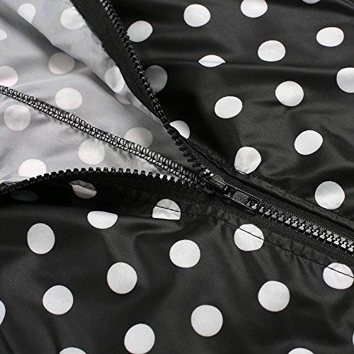 Caeasar Funktionsjacke Polk Dots Wasserdicht Winddicht Übergangsjacke Regenjacke mit Kapuze Tasche Regenparka Atmungsaktiv Jacke Schwarz+Weiß