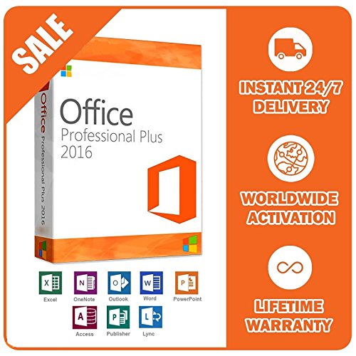 Microsoft Office Professional Plus 2016 -für 2 PCs | Multilanguage | für Word, Excel, PowerPoint, OneNote, Outlook, Publisher und Access [License]