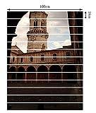 Imperméable Stickers Muraux Style Européen Créative Escaliers Autocollants 3D Rénover Autocollants D'escalier Shabby Tour De L'Horloge DIY Stickers Muraux,PhotoColor-100*18cm*13pcs...