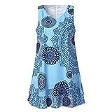 VJGOAL Damen Röcke, Damen Mädchen Plus Size Print Rundhalsausschnitt Kleid Lose Shift Sleeveless Tank Weste Sun Rock(Himmelblau,38)