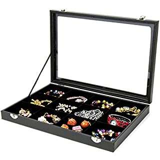 H&S® Glass Lid Bracelet Ring Jewellery Display Storage Box Tray Case - 12 Grid