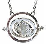 H&H - Collar con colgante de reloj de arena estilo giratiempo mágico, de Reino Unido, Falcoa, con bolsita de terciopelo, opción de colgante de reliquia de la muerte