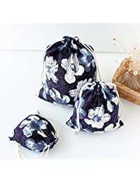 Generic L, Navy Flower : Navy Flower Cotton Linen Storage Bag Eco-Friendly Shopping Tea/candy/key Package Drawstring...