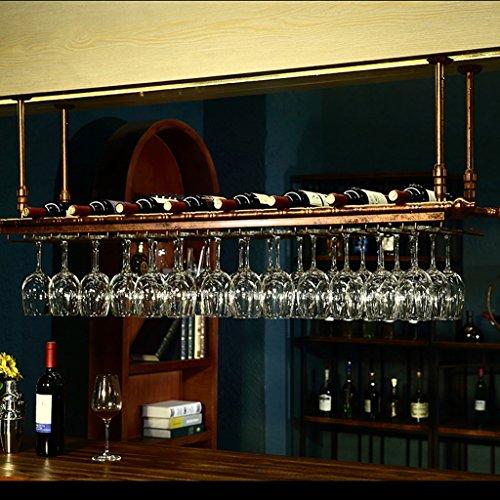 Vintage Hänge Weinregal mit Standardgröße Wein oder Champagner Flasche Lagerung Weinglas Halter Becher Einstellbare Weinregal Bar Dekoration Display Regal (Farbe : Messing, größe : 60x30cm) - Messing Becher Und Racks