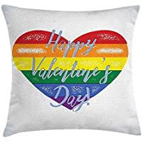 Vintage Rainbow Throw Pillow Cushion Cover, Happy Valentine`s Day Quote on Distressed Colorful