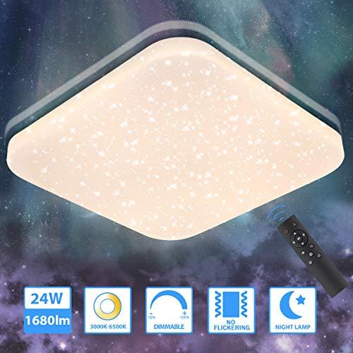 LED Deckenleuchte Sternenlicht 24W,Oeegoo 1680Lm Dimmbar Deckenlampe Mit Fernbedinung, Sternenlampe Mit Sternendekor Als Schlafzimmerlampe, Kinderzimmerlampe, Wohnzimmerlampe, Badlampe, 3000K-6500K