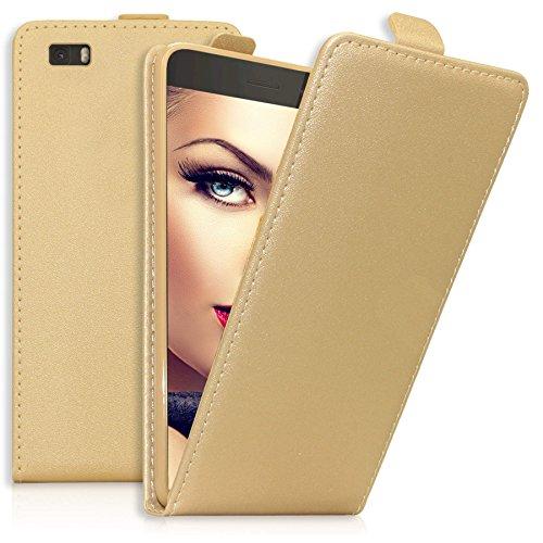 mtb more energy Flip-Case Tasche für Huawei P8 Lite (ALE-L21./2015/5.0'') | Gold | Kunstleder | Schutz-Tasche Cover Hülle