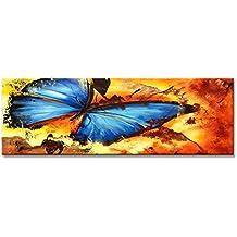 Cuadros en Lienzo La mariposa 120 x 40 cm modelo Nr. 5708 XXL Las imágenes estan listas, enmarcadas en marcos de Madera auténtica. El diseño de la impresión artística como un Mural enmarcado.