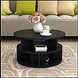 Klapptisch YANFEI, Moderner Couchtisch, runder Stauraum, Nachttisch, Montage Schwarz, Pink, Weiß, Nussbaum (Farbe : SCHWARZ)