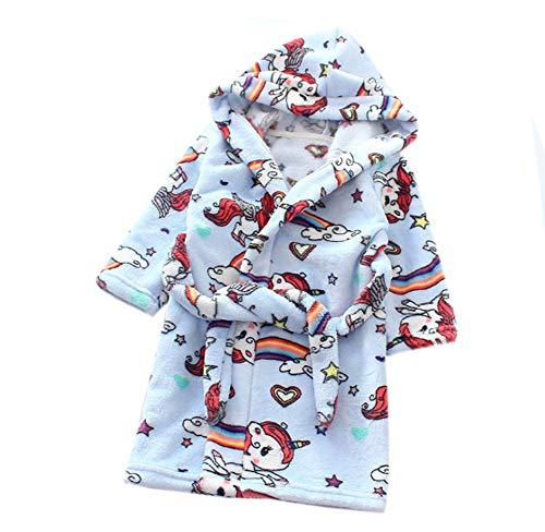 XINNE Jungen Mädchen Kapuzen-Bademantel Unisex Kleinkinder Morgenmantel Weichem Flanell Pyjamas Nachtwäsche Nachthemd Größe 120 Blaues Pferd (4t Kleinkind Robe)