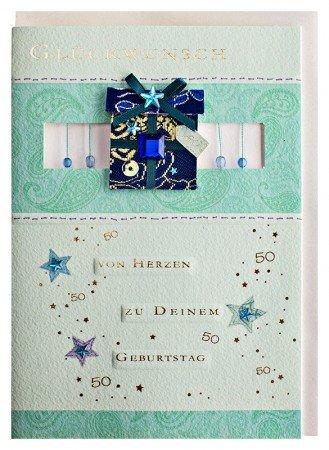 Geburtstagskarte 50 handmade türkis