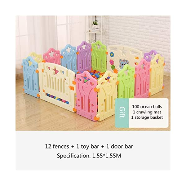LIUFS-Playpens Game Fence Indoor Fence Crawling Mat Home Children Fence Safety Fence Toddler Toys (color : Multi-colored, Size : 12+2 fence) LIUFS-Playpens - The fence is specially designed with a rubber base underneath, which can be firmly fixed to the floor and will not be pushed or towed by children. - Non-toxic, non-circulating high density polyethylene material without any odor. Over the years, molding technology has made the structure more durable and durable. Any form of manual deburring can prevent your baby from getting hurt. - The height of the fence is long enough to stand and walk, and each set has different game toys for children to play. 2