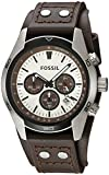 FOSSIL Coachman Chronograph Brown Leather Watch/Analogue Men's Watch with Quartz Movements and Silver Dial - Stopwatch, Tachymeter and Timer Functionality