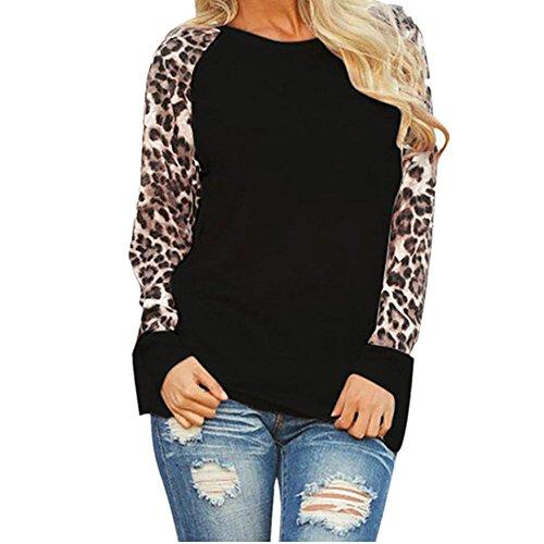 Leopard Kostüm Selbstgemacht - TUDUZ Damen Leopard Langarm T-Shirt Oversize Tops Elegant Oberteil O-Ausschnitt Tunika Bluse Sweatshirt Top Pullover Strickjacke Shirt (Schwarz, S(EU 36))