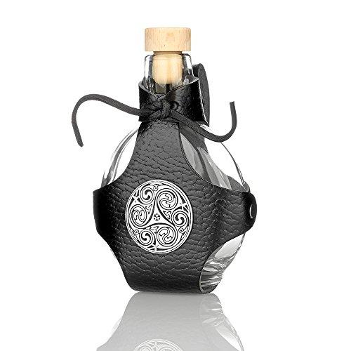 Eburya Glas Feldflasche/Flachmann mit Lederköcher & silberfarbenem keltischen Metallbeschlag
