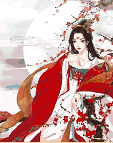 Kostüm Das Shanghai Alte - srtyu Alte Wind Mädchen Digitale Malerei DIY handgemalte Ölgemälde Alten Kostüm Hanfu handgemalte Farbmalerei Mädchen Schlafzimmer Gemälde