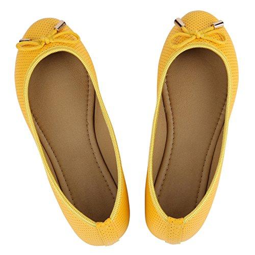 Klassische Übergrößen Damen Ballerinas Lederoptik Freizeit Flats Schuhe Gelb Schleifen