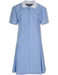 d9dded0a248 Miss Chief Girl s School Uniform Pleated Gingham Summer Dress + Hair Bobble  Age 3 4 5