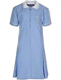 Miss Chief Girl's School Uniform Pleated Gingham Summer Dress + Hair Bobble Age 3 4 5 6 7 8 9 10 11 12 13 14 15 16 17 18 20