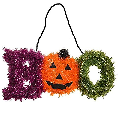 Haunted Halloween Tinsel Spooky BOO Pumpkin Party Hanging Plaque Decoration