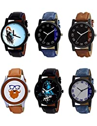 NIKOLA New Royal Mahadev Beard Style Black Blue And Brown Color 6 Watch Combo (B22-B37-B36-B55-B23-B40) For Boys...