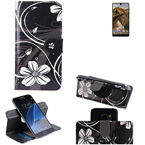 K-S-Trade® Schutzhülle Für Essential Phone Hülle 360° Wallet Case Schutz Hülle ''Flowers'' Smartphone Flip Cover Flipstyle Tasche Handyhülle Schwarz-weiß 1x