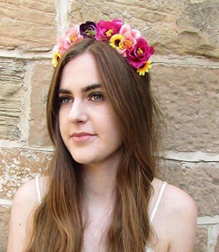 Rose Violet Rose Jaune Tournesol Fleur Bandeau cheveux Couronne Guirlande Boho z78 * * * * * * * * exclusivement vendu par – Beauté * * * * * * * *