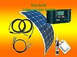 bau-tech Solarenergie 100Watt Flexible Wohnmobil Solaranlage mit Steca Laderegler, 12 Volt Set, GmbH