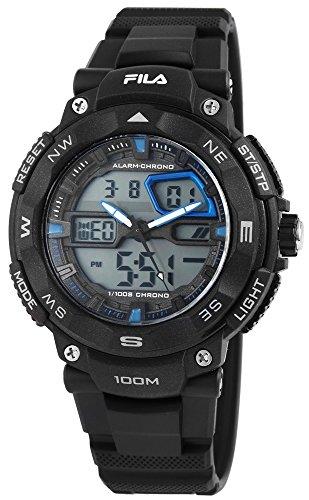 Fila Reloj de hombre con pulsera de silicona negro Digital Reloj de pulsera resistente y deportes de exterior