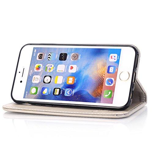 Cover iPhone 6 Plus / 6S Plus,ToDo iPhone 6 Plus / 6S Plus [5.5 inch] Custodia Pelle Premium PU 3D Stampata Folio Sottile Silicone Morbido Case ID Slot per Scheda Antigraffio Magnetico Flip Protettiva grigio