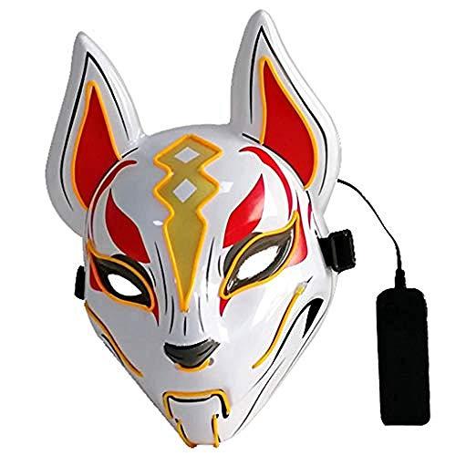 Catwoman Zu Einfach Kostüm Machen - acccc Halloween Maske LED Licht - Halloween Masken Scary - Horror Scary Cosplay Maske - für Festival Cosplay Halloween Kostüm Lila @ Gelb