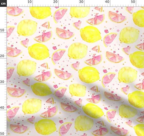 Rosa, Limonade, Zitrone, Obst, Wasserfarben, Saft Stoffe - Individuell Bedruckt von Spoonflower - Design von Erinanne Gedruckt auf Bio Baumwollsatin -