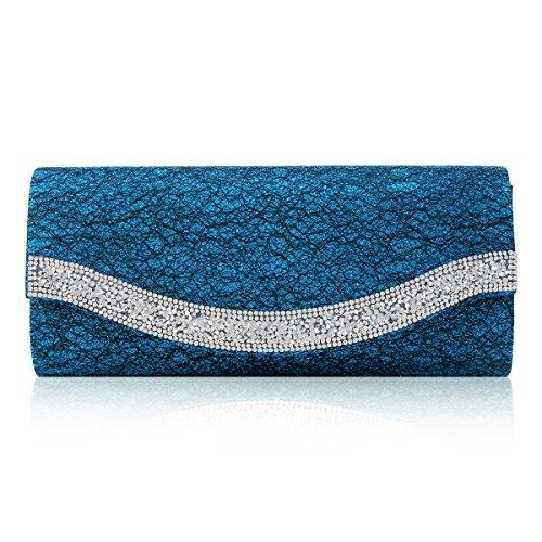 Damara® Damen Glanz Strass Rüschen Pailletten Handtasche Blau