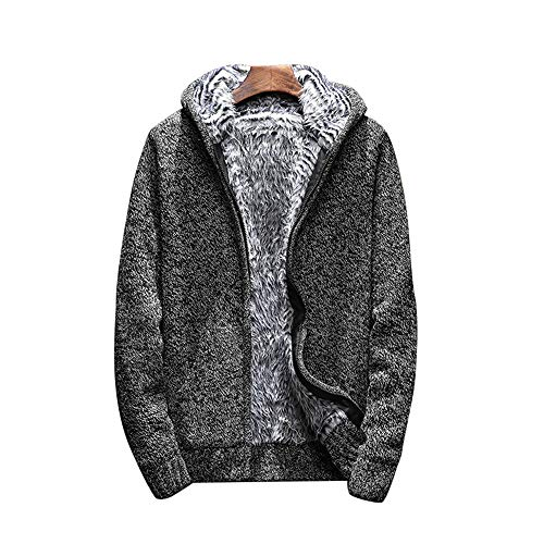 Shujin Herren Herbst Winter Dicken Strickjacke Gefüttert mit Fell Cardigan Grobstrick Zipped Fleece Sweatjacke mit Kapuze Kapuzenpulli Mantel